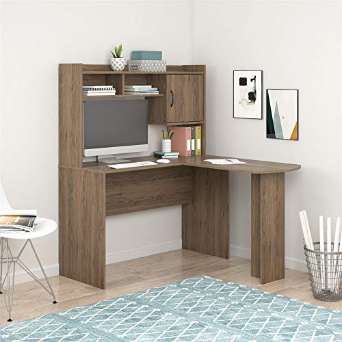 Mainstays L-Shaped Desk with Hutch, Multiple Colors (L-Shaped Desk with Hutch, Rustic Oak Desk)