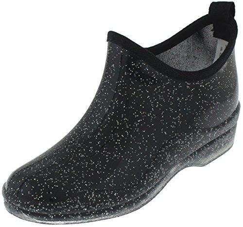 Capelli New York Ladies Allover Glitter, Slip On Short Rain Boot Black Combo 6