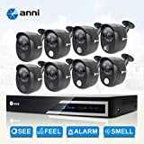 Anni 16 Channel HDMI 1080N CCTV Surveillance DVR kit, and 8 x Wired 1080p Security Cameras with Built-in Gas Detector, PIR Heat-Based Sensor, Siren Audio Alarm Blaster