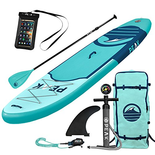 Peak Inflatable 10'6 Stand Up Paddle Board Complete Package (6' Thick) | Includes Adjustable Paddle, Travel Backpack, Coil Leash (Aqua)