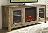 WE Furniture 58' Wood Media TV Stand Console with Fireplace - Barnwood