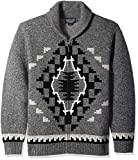 Pendleton Men's Two Grey Hills Full Zip Cardigan Sweater, Charcoal/Black, LG