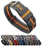 BARTON Watch Bands - Choice of Color, Length & Width (18mm, 20mm, 22mm or 24mm) - Smoke/Pumpkin 20mm - Standard Length