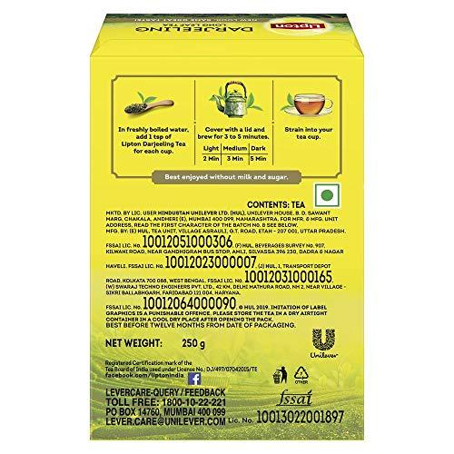 51ibN2MmlWL - Lipton Darjeeling Long Leaf Tea, 100 Percent Pure and Authentic Darjeeling Tea, 250 g