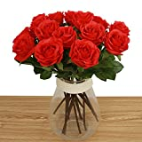 Bringsine Artificial Flowers, Real Touch Pu Flowers Silk Artificial Rose Flowers Home Decorations for Bridal Wedding Bouquet, Birthday Flowers Bunch Hotel Party Garden Floral Decor Red