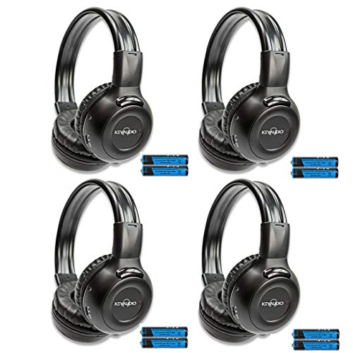 4 Pack of 2-Channel Universal Infrared Wireless IR for Rear Entertainment Systems DVD Player Head Phone for in Car TV Video Audio Listening Superior Sound Quality Plus 48' 3.5mm Aux Cords