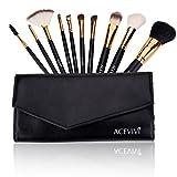 ACEVIVI 10 Pieces Makeup Brushes Set with Powder Blusher Cosmestic Kabuki Brushes with Synthetic Leather Case Black