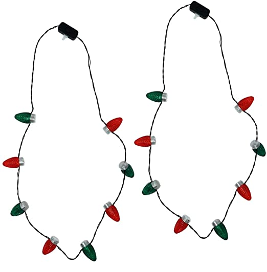 Holiday Light Necklace Classic Bulb, Green and Red, 2 Pack