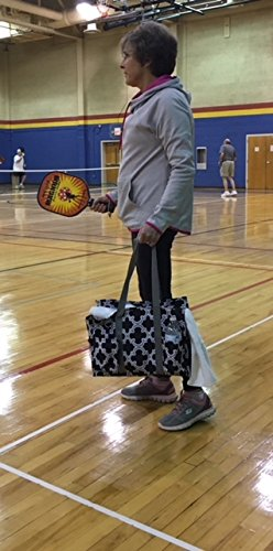Pickleball Bag: Large Sports Duffle for Gear, Paddle & Pickleball Balls - Easy-to-Clean Gym Tote with Moisture Resistant Interior, Key Ring & 6 Outer Pockets (Black/Pink)