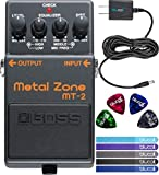 Boss MT-2 Metal Zone Distortion Guitar Pedal Bundle with Blucoil Slim 9V Power Supply AC Adapter, 4-Pack of Celluloid Guitar Picks and 5-Pack of Blucoil Reusable Cable Ties