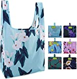 Reusable Grocery BagsTote Bags Machine Washable 6 Pack Flowers Flora Pattern Reusable Shopping Bags Foldable with Attached Pouch Extra Large 50 LBS Sturdy Water Resistant Ripstop