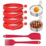 Ozera 6 Pack Egg Ring, Egg Pancake Mold, Silicone Egg Ring Molds, Stainless Steel Egg Rings for Frying Eggs, Come with Spatula and Silicone Brush