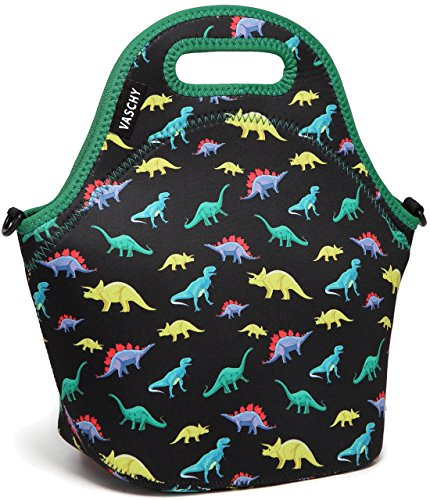 VASCHY Lunch Bag for Children, Neoprene Insulated Lunch Box Bag Tote with Detachable Adjustable Shoulder Strap in Cute Dinosaur