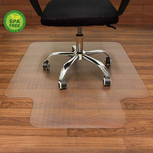 AiBOB Nontoxic Office Chair mat for Hard Floor, 36' x 48', Easy Glide for Chairs, Flat Without Curling | Sturdy & Durable | BPA Free, Good for Computer Desk, Office & Home (Clear)