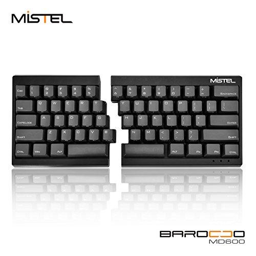Mistel Barocco Ergonomic Split PBT Mechanical Keyboard with Cherry MX Blue Switches, Black