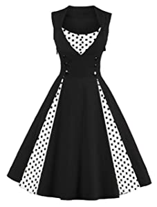 Killreal Women's Polka Dot Retro Cocktail Swing Dresses