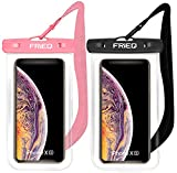 Waterproof Case 2 Pack for iPhone Xs Max XR XS X 8 7 6S Plus, Samsung Galaxy S10 S10e S9 S8 +/Note 9 8, Pixel 3 2 XL HTC LG Sony Moto up to 6.5' (Black and Pink)