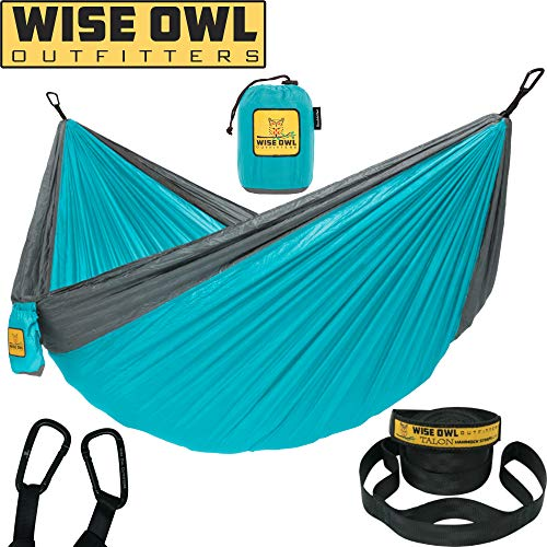 Wise Owl Outfitters Hammock Camping Double & Single with Tree Straps - USA Based Hammocks Brand Gear, Indoor Outdoor Backpacking Survival & Travel, Portable DO BL/GY