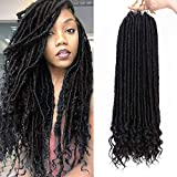 AISI BEAUTY Goddess Locs Crochet HairBraiding Pre-Looped Faux Locs Crochet Hair with Curly Ends Synthetic Hair Extensionfor Black Women 6packs/Lot 24 Roots(1B)