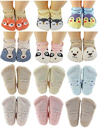 Baby Socks Toddler Girls Anti Slip Cartoon Animal 1 Year Old Gift Best Non Skid Cotton Sock from Tiny Captain (Pink, Blue, Grey, Tan)