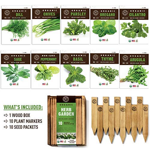 Herb-Garden-Seeds-for-Planting-10-Culinary-Herb-Seed-Packets-Kit-USDA-Certified-Organic-Seeds-Non-GMO-Heirloom-Plant-Markers-Wood-Gift-Box-Gardening-Gifts-for-Gardeners