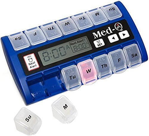 Med-Q Digital Pill Box Dispenser with Liberty Cloth and 2 Electronic Wipes