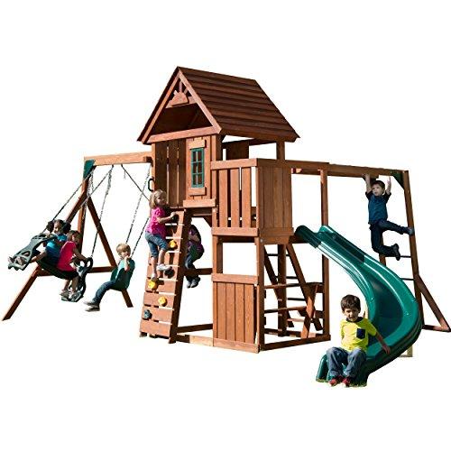 Swing-N-Slide PB 8272 Cedar Brook Play Set with Two Swings, Slide, Monkey Bars, Picnic Table & Glider, Green