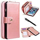 iPhone 8 Plus/iPhone 7 Plus Case, Style4U Premium PU Leather flip Wallet Bag Pouch Case Cover with ID & Credit Card / Cash Holder Slots Pockets for iPhone 8 PlusiPhone 7 Plus w/Stylus [Rose Gold]