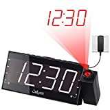 OnLyee AM FM Radio Alarm Clock, Projection Ceiling Wall Clock, 7' LED Digital Desk/Shelf Clock with Dimmer, USB Charging, AC Powered and Battery Backup for Bedroom, Kitchen, Kids