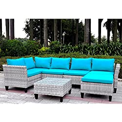 7 Pieces Outdoor Wicker Patio Sofa Set with Cushions, Sectional Conversation Sofa Couch Set with Leg Leveler, UV/Fade/Water/Sweat/Rust Resistant (Mix Gray + Blue Cushions)