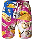 Loveternal Mens XL Cute Swim Trunks Funny Taco Food Beach Short Summer Cool Mid Crazy Cat Swimming Trunks Board Shorts Youth Beachshort Quick Dry Bathing Suit for Men XL