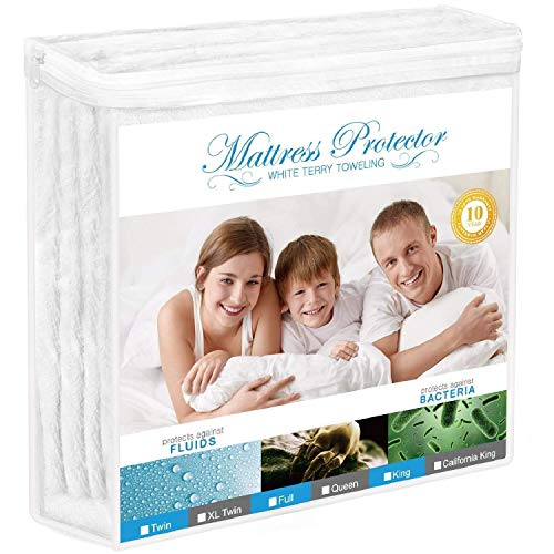 Adoric Mattress Protector, Waterproof Mattress Protector, Premium Mattress Cover Cotton Terry Surface-Vinyl Free (King)