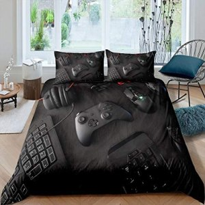 Modern Gamepad Bedding Set, Boys Youth Video Game Controller Mouse Keyboard Headphone Gaming Equipment Comforter Cover, Decorative 3 Piece Duvet Cover With 2 Pillow Shams, Full Size, Red Black White