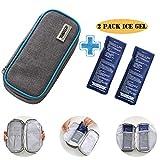 Insulin Case Diabetic Cooler Bag - Portable Insulated Medicine Insulin Bottle Storage Pen Travel Case Diabetes Carrying Organizer Cooler Bag for Men Women Kids with 2 Ice Gel Pack(Blue Sideline)