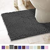 ITSOFT Non-Slip Shaggy Chenille Toilet Contour Bathroom Rug with Water Absorbent, Machine Washable, 21 x 24 Inch U-Shaped Charcoalgray