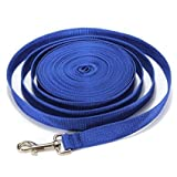 40FT/50FT/66FT Extra Long Puppy Pet Dog Training Obedience Retractable Lead Leash Recall Rope - Medium and Larger Dogs Heavy Duty Nylon Leash (40Ft/12M, Blue)