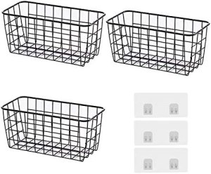 YUMXCL Sturdy Metal Wire Storage Basket, Food Storage Pantry Organizer Metal Storage Bin Baskets Wire Baskets for Wall Hanging Storage Baskets Suitable for Kitchen Cabinets, Pantry, Bathroom-3 Packs