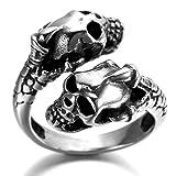 Alimab Stainless Steel Finger Rings Silver Black Double Skull Head for Men US Size 11