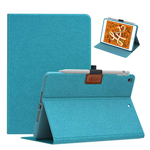 Veco Denim Series - iPad Mini 5 Case with Pencil Holder, Premium Folio Stand Case, Soft TPU Back Cover [Auto Sleep/Wake Feature] for Apple iPad Mini (5th Generation)(Blue)