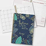 Believe You Can Personalized Inspirational Monthly and Weekly Planner and Organizer, 1 full year, DATED or UNDATED OPTION, Soft Cover, lay flat wire-o spiral binding, Available in 2 sizes.