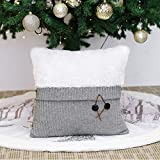 Valery Madelyn Frozen Winter Grey and White Knitted Christmas Pillow Covers, 18 x18 Inch, Themed with Tree Skirt (Not Included)