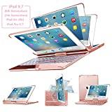 Keyboard Case for iPad 9.7, SENGBIRCH 7 Colors Backlit Wireless Keyboard Case Folio Smart 360 Rotate Stand Cover for iPad Air, iPad Air 2, iPad pro 9.7, iPad 9.7 2017/2018 Tablet, Rose Gold