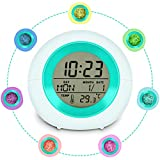 Cijoka Alarm Clock for Kids, Cute Girls Boys Alarm Clock 7 Colors Changing Light 8 Sounds Touch Control/Temperature Calendar/Fun Alarm Clock Gift for Child