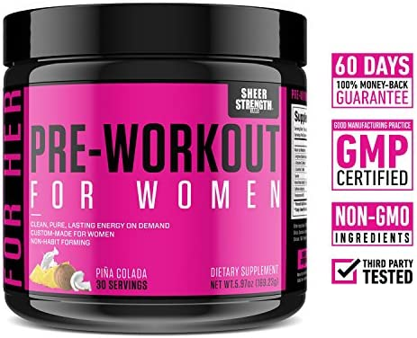 Pre Workout for Women with L Arginine (v2) - Energy, Stamina, Healthy Weight Loss | Non-GMO & Non-Habit-Forming | Nitric Oxide Booster Powder Supplement - Sheer Strength Labs, 30 Servings 4