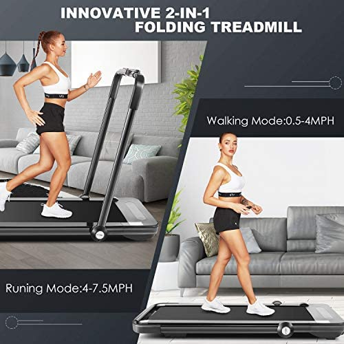 Folding Treadmill,Under Desk Treadmill for Home,2-in-1 Running,Walking & Jogging Portable Running Machine with Bluetooth Speaker & Remote Control,5 Modes & 12 Programs,No Assembly Required 2