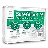 Set of 2 Smooth SureGuard Pillow Protectors - 100% Waterproof, Bed Bug Proof, Hypoallergenic - Premium Zippered Cotton Covers - 10 Year Warranty - Standard Size