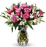 Benchmark Bouquets Delightful Roses and Alstroemeria, With Vase (Fresh Cut Flowers)