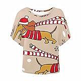 INTERESTPRINT Women Short Sleeve T-Shirt Casual Blouse Tunic Tops Christmas Dog XS