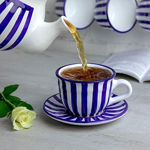 Navy Blue Stripe 12oz Coffee Tea Cup and Saucer