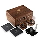 Whiskey Stones Gift Set by Royal Reserve | Husband Birthday Gifts Artisan Crafted Chilling Rocks Scotch Bourbon Glasses and Slate Table Coasters - Gift for Men Dad Boyfriend Anniversary or Retirement